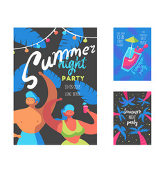 summer night party poster with flat people vector image