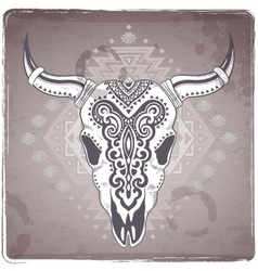 Tribal animal skull with ethnic vector
