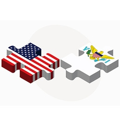USA and United States Virgin Islands Flags in vector image