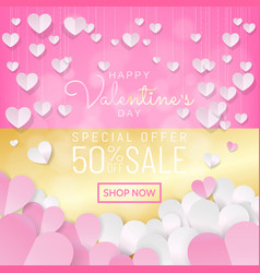 valentines day sale background pink and gold vector image