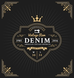 Vintage frame label design for denim and apparel vector