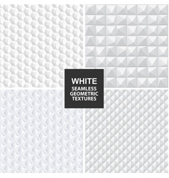 White seamless geometric textures vector