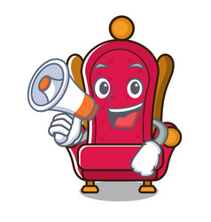 With megaphone king throne character cartoon vector