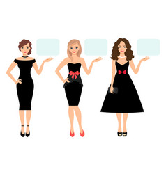 Women in black dress presenting product vector
