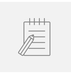 Writing pad and pen line icon vector