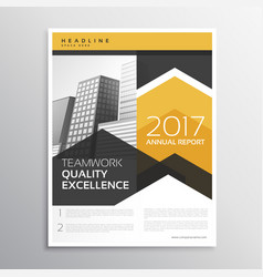yellow annual report brochure template design vector image