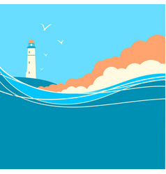 blue sea waves with lighthouse nature poster vector image vector image