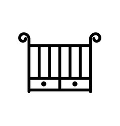 crib thin line icon outline symbol baby cot for vector image
