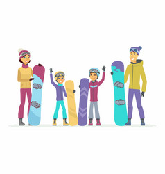 family goes snowboarding - cartoon people vector image vector image