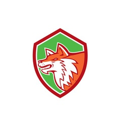 Red Fox Head Pouncing Shield Retro vector image vector image