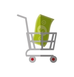 shopping cart online bill money color shadow vector image