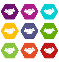 business handshake icon set color hexahedron vector image vector image