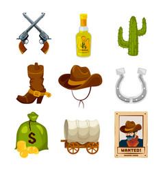 cartoon icon set for wild west theme vector image