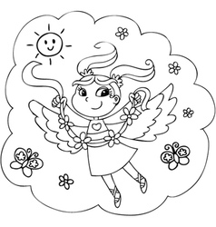 Coloring flying fairy lady vector image