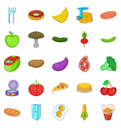 cuisine icons set cartoon style vector image