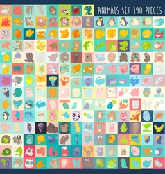 cute cartoon animals set 190 pieces vector image vector image