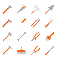 set of color construction tools vector image vector image