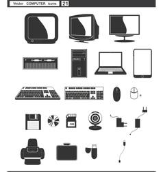 set web icons retro monitor and computer vector image