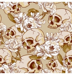 Skull and Flowers Seamless Background vector image vector image