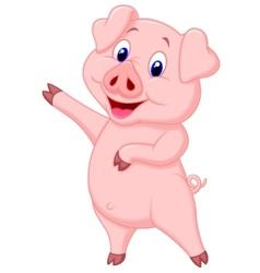 Cute pig cartoon presenting vector image vector image