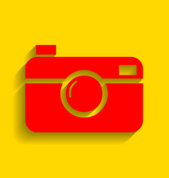 digital photo camera sign red icon with vector image vector image