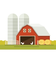 Farm and barn for storing grain in a flat style vector image vector image