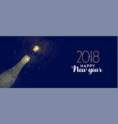 happy new year 2018 gold glitter champagne bottle vector image