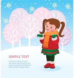 Kid enjoys first snow vector image vector image