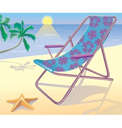 Sunbed on the beach vector image vector image