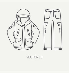 Line flat hunt and camping icon khaki vector