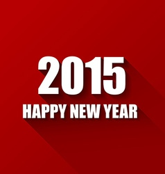 Modern red simple happy new year card 2015 vector