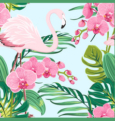 pink orchid flamingo tropical leaves pattern blue vector image