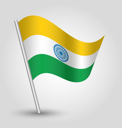 waving simple triangle indian flag on slant vector image vector image