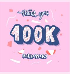 100 k followers post template design vector