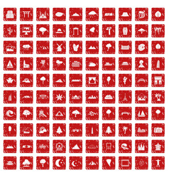 100 view icons set grunge red vector image
