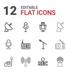 12 radio icons vector image