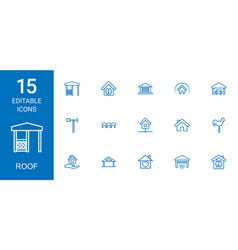 15 roof icons vector image
