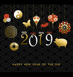 2019 chinese new year of the pig gold icon card vector image