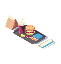 3d isometric fast food soda burger french vector image