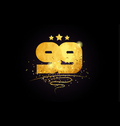 99 number icon design with golden star and glitter vector