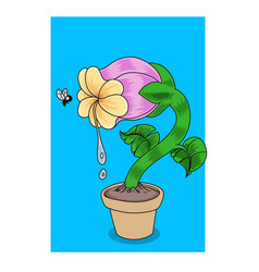 a hungry carnivorous flower looking at fly vector image