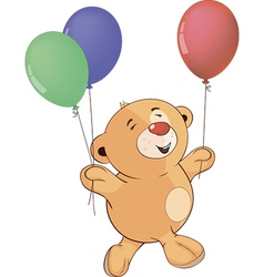A stuffed toy bear cub with toy balloons cartoon vector