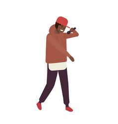 African american r n b vocalist wearing cap vector