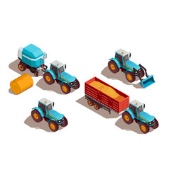 Agricultural machines isometric composition vector