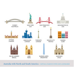 America continent and australia cities landmarks vector