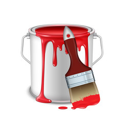 An open tin can with spilled red paint and a brush vector