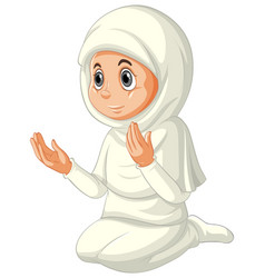 Arab muslim girl in traditional clothing vector