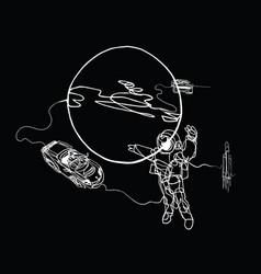 Astronaut planet spacecraft cabriolet in space vector