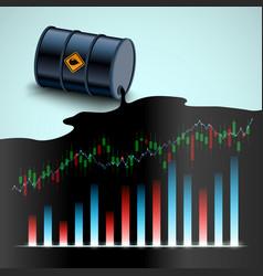 Barrel crude oil financial charts and graphs vector