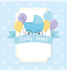 bashower blue pram balloons ribbon decoration vector image
